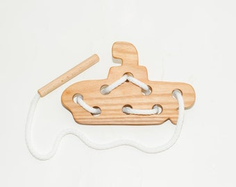 Wooden lacing submarine toy, Educational toy, Montessori toys, Organic toy, Toddler activity, Natural eco friendly, Learning sewing toys