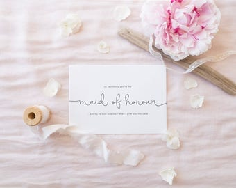 MAID OF HONOUR Greeting Card, Will You Be My Maid of Honour, Funny Maid of Honour Card, Bridesmaid Card, Will You Be My Card