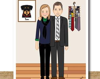 Custom Couple Art- Couple Portrait- Unique Couple Gift- Personalized Couple Decor- Valentines Gift- Printable - 1st Anniversary Gift