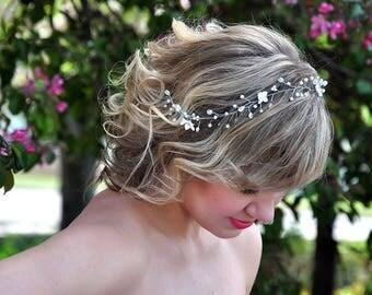 wedding pearl crown Bridal headpiece pearl bridal hair Wedding Hair Vine crystals Vine Pearl Hair Vine Bridal hair accessories bridal crown