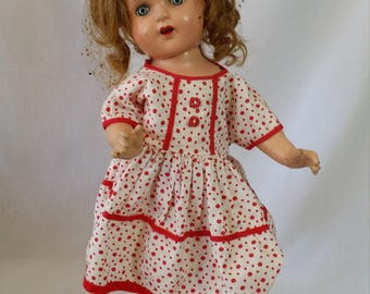 Composition Doll  20 Inch 1930s ~ Beautiful Clear Blue Eyes ~ Shirley Temple Dress ~ Beaded Hair Net