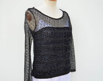 Top black sequins, tunic rebroder black, blouse beading