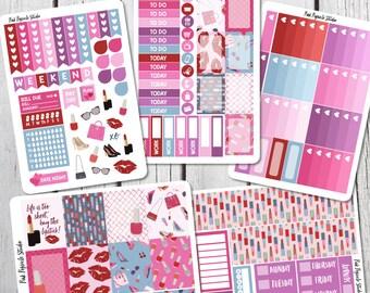 Makeup Weekly Planner Sticker Kit For Erin Condren Life Planner Vertical