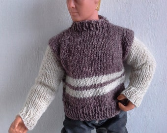 brown pullover for Power Team action figure, jumper, male doll 1:6 sweater