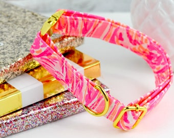 Dog Collar - Authentic Lilly Pulitzer Fabric - Tappin it Back - Spring 2017 - Neon Pink/Orange - Yellow Gold Hardware