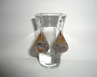 Oregon Thunderegg, Sterling Silver Dangle Wire Earrings