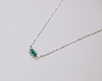 Emerald Necklace - Silver Gemstone Necklace - Emerald Rondelle Necklace - Sterling Silver Necklace - Dainty Necklace - May Birthstone