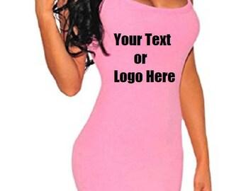 Custom Personalized Designed Women's Sleeveless Bodycon Mini Tank Dress