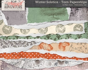 Winter, digital scrapbooking, torn paperstrips, digital download, solstice, christmas, yuletide, ice, snowflakes, torn edges, papers