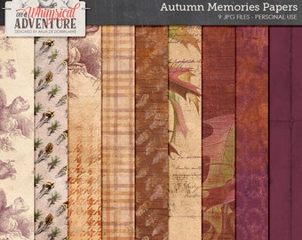 Fall, autumn digital scrapbook papers, digital download, vintage ephemera, patterns, feather, squirrel, autumn leaves, patterned backgrounds