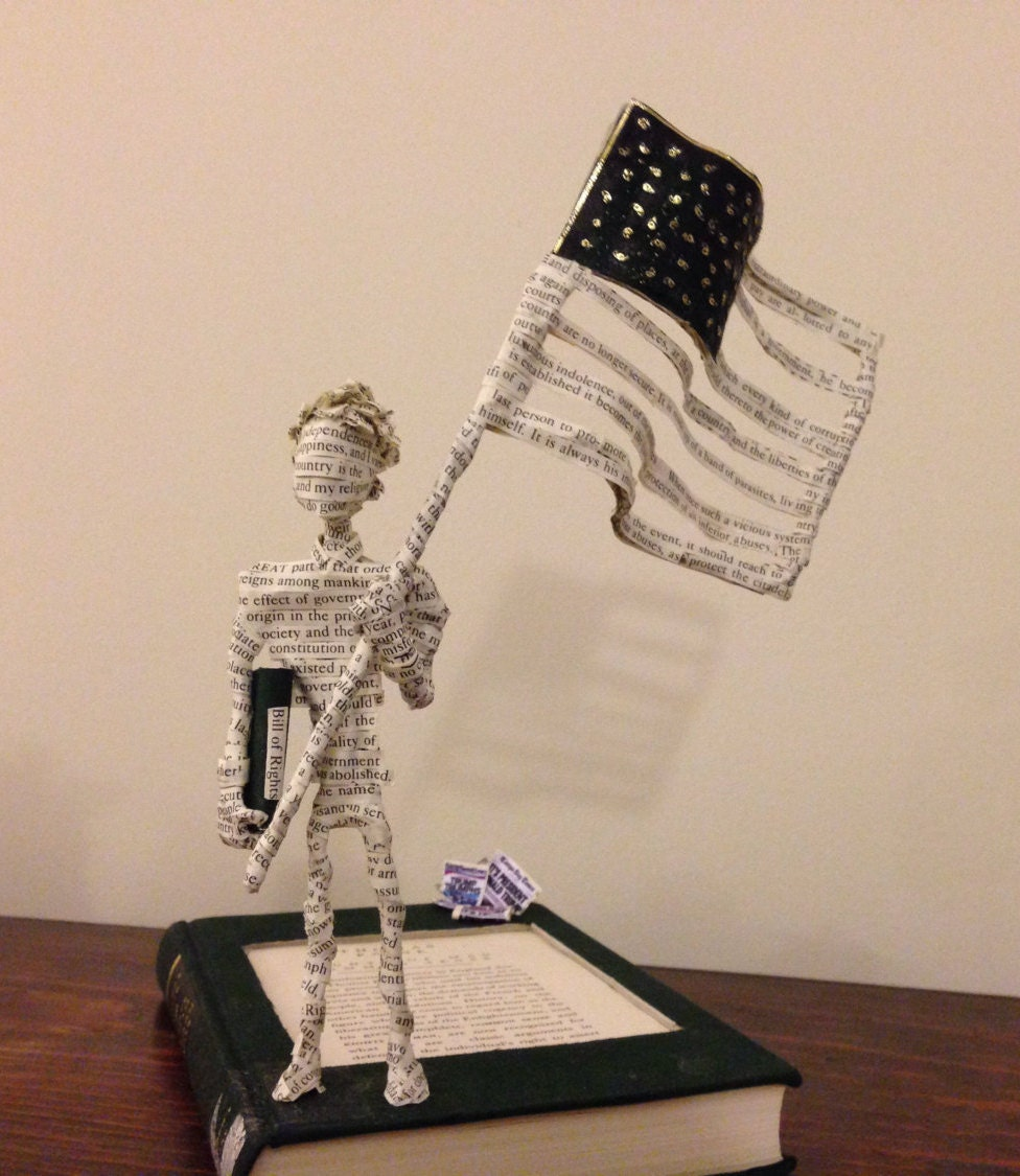 Book Art, Thomas Paine, Rights of Man, Book Sculpture, Paper Mache, Political Sculpture, American Flag, Paper Sculpture, Common Sense