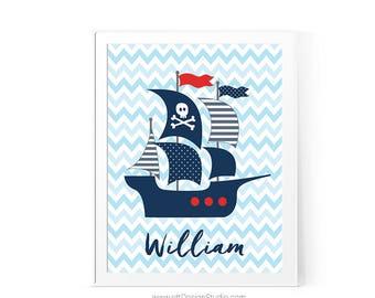Nautical Nursery Print, Pirate Nautical Ship, Custom Name Print, Nursery Wall Art, Pirate Boat Print, Baby Room Decor, Boy Room Decor, D82-5