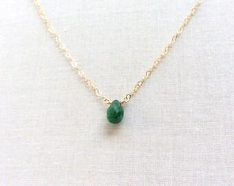 Genuine Emerald Necklace - Emerald Necklace - May Birthstone - 14k Emerald Necklace - Emerald Jewelry - Emerald Necklace Gold - Emerald