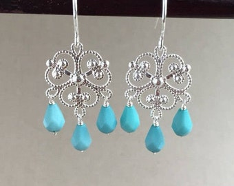 Silver Solje Chandelier with 1960s Turquoise Acrylic Drops