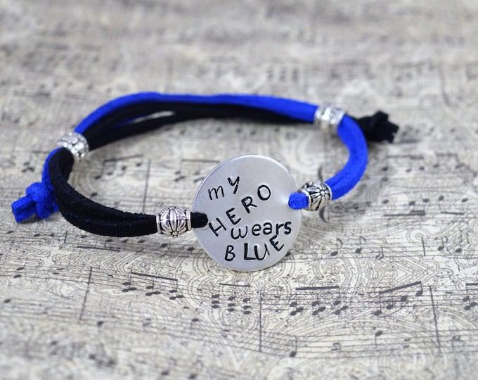 My Hero Wears Blue, Hand Stamped Adjustable Simple Bracelet, Unisex, Back The Blue, Blue Lives Matter, A Thin Blue Line, Police Support