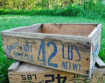 Grape Wood Crate/Produce Crate/Wine Grape Crate/Rustic Farmhouse Wood Box/Fruit Crate/Distressed/Aged/Vintage