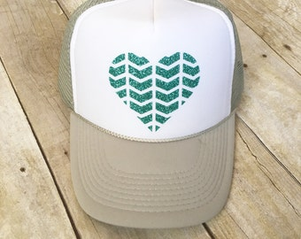 Adult Grey and White Trucker with heart logo