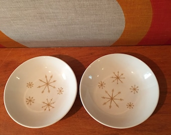 Royal China Star Glow, Atomic Starburst Berry Bowls, Set of 2,  Mid Century Modern Starburst Bowls, Gold Starburst Design, Small Bowls