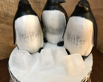 Set of 3 Wooden Penguin Figurines