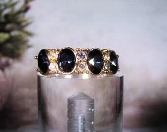 1980s,Sapphire Blue Rhinestone Ring,Blue Sapphire & White Rhinestone Ring,Electroplated Ring,Blue Rhinestone Band Ring,Blue Ring – Size 7.25