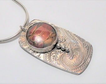 Picasso Jasper and Paisley Sterling Silver Necklace