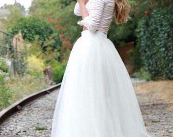 White Maxi Tulle Skirt/ Floor Length Tulle Skirt/ Wedding Skirt/ Long Tulle Skirt