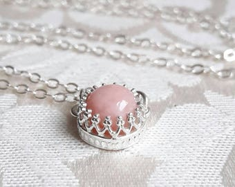 Pink Opal and Sterling Silver Pendant Necklace - Pink Opal Necklace - Delicate Necklace - Pink Stone Necklace - Bridesmaid Gift - Sweet 16