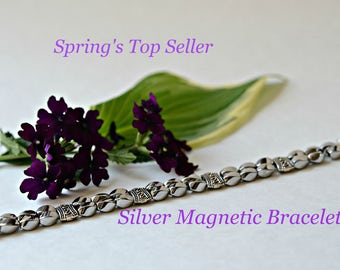 BEST SELLER  SILVER Magnetic Bracelet. Silver twist hematite magnetic beads with Tibetan silver spacers and extra strong magnetic clasps.