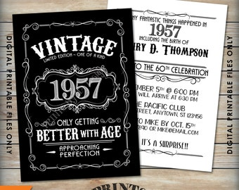 "Vintage Birthday Invitation, Aged to Perfection Birthday Invite, Better with Age, Whiskey Theme Party, 5x7"" Black & White Printable Files"
