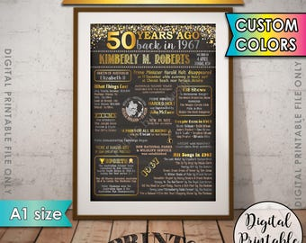 1967 Birthday Poster, AUSTRALIA 1967 50th Birthday Gift, Back in 1967 Flashback 50 Years Ago, 50th B-day, A1 size Chalkboard Style Printable