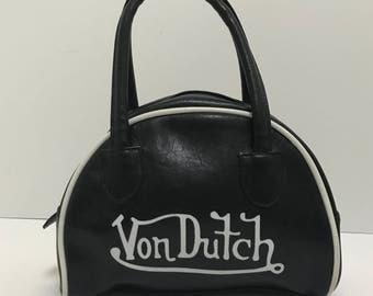 Authentic Vintage Von Dutch Purse Mini Bowling Bag Black and White