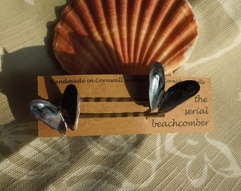 Cornish mussel shell hair clips
