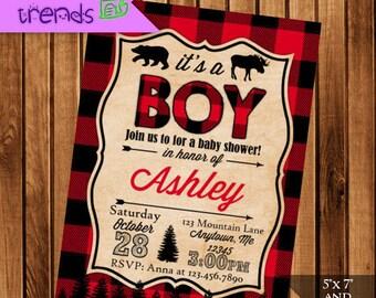 Lumberjack Baby Shower Invitation, Buffalo Plaid Printable Party Invite, 5x7 or 4x6 Invite, Rustic Baby Shower Invite