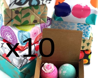4 Bath Bombs set, (10 Boxes) Perfect Gift For Family, Friends, Co Worker, Parties!! Handmade in USA with Fresh Ingredients