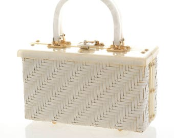 Vintage 1950s white wicker and lucite handbag purse