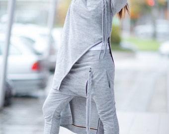 Elegant Tricot set, Grey Sports Zipper Set, Harem Pants Set,  Drop Crotch Pants, Grey Asymmetric Turtleneck Blouse by EUG Fashion