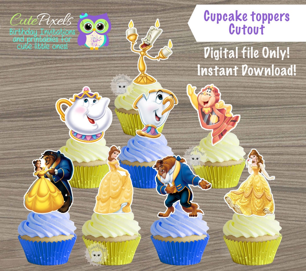 Beauty and Beast cupcake toppers Princess Belle Cupcake