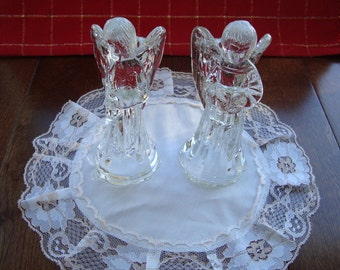 Vintage Glass Angel Candle Stick Holders - Set of Two - One holding a Songbook and One Blowing a Horn
