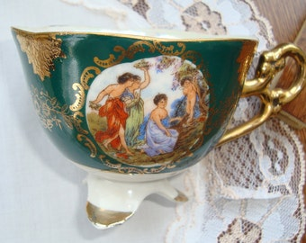 Shafford Japan Hand Painted  - Vintage 3-Footed Tea Cup (Cup Only) - Scene with Gold on Dark Green - Pearled Interior - Cup Only