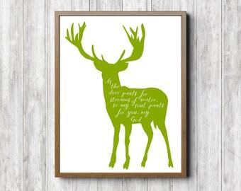 Deer Scripture Printable Wall Art - Psalm 42 : 1 - As The Deer - Bible Verse Wall Decor - Christian Wall Art - 16 x 20 - 11 x 14 - 8 x 10