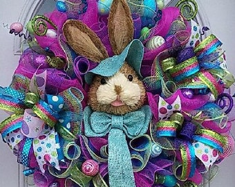 """Fancy & Beautiful!!! XXL Easter """"Bunny"""" Wreath is Absolutely Stunning!!! Premium Quality, Sparkles, Shiny, and Fancy Fun Colors Galore!!!"""