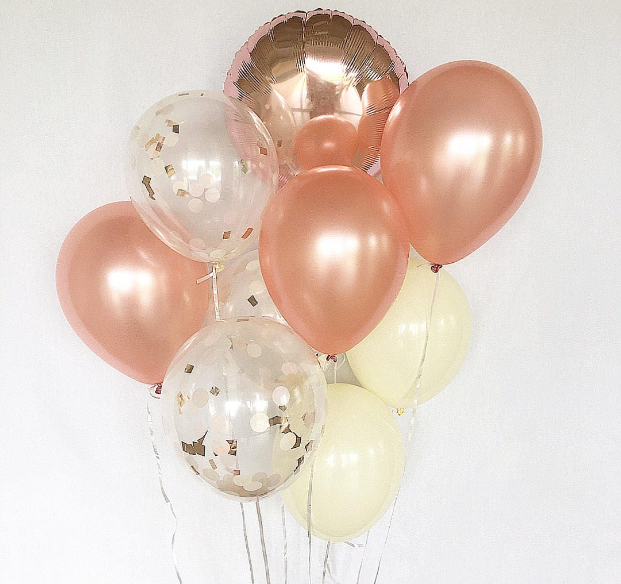 Rose gold balloons rose gold confetti ivory latex balloons for Decoration or rose