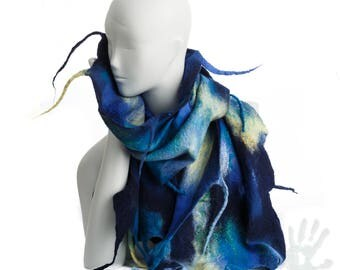 Moonlite blue shawl. / Made in USA / Nunofelt Scarf / Nuno felt Silk / Eco / Handmade / Merino Wool / Ready To Ship.