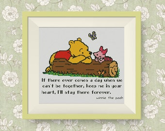 BUY 2, GET 1 FREE! Winnie the Pooh cross stitch pattern, Quote cross stitch pattern, I'll stay (in color), Instant Download, #P202