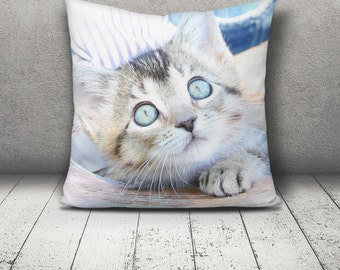 Decorative Pillow, Kitten in Hat, Square Pillow, Cat Eyes, Home Art, Gift for Her, Home Decor, Fabric Photo Art, Photo Printed Pillow, Art