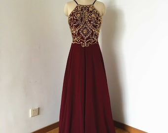 Backless Spaghetti Straps Burgundy Chiffon Long Prom Dress 2017 with Gold Beads