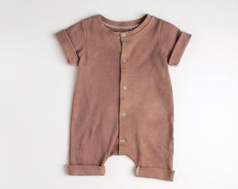 Cotton Rolled Hem Snap Front Romper Hand Dyed Dusty Rose