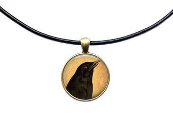 Antique jewelry Crow necklace Bird pendant