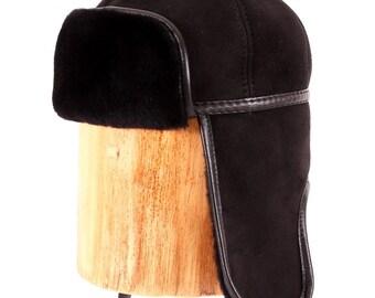 Men's cap with ear-flaps made of sheepskin (dublenochnoy) GBL