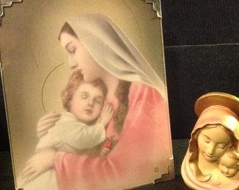 Mary Jesus/Marie et Jesus/Classique icône La Vierge et l'Enfant/1940 Litho G.Bosevi